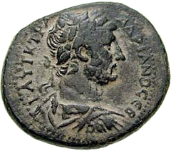 City-coin of Gerasa depicting the head of Hadrian and Artemis-Tychē (129-130 CE) - Obverse