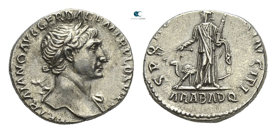 Denarius depicting the head of Trajan and the personification of Arabia making an act of submission (103-111 CE)