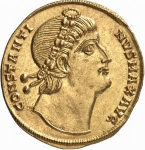 Solidus depicting the head of Constantine celebrating the thirtieth anniversary of his rule (335 CE) - Obverse