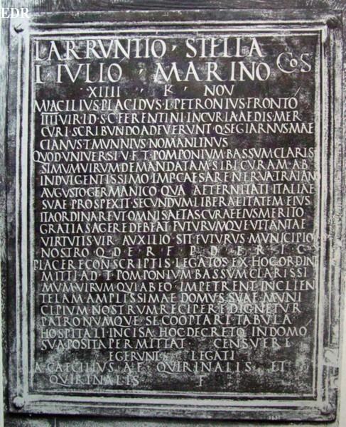 Dedication to T. Pompnius Bassus, CIL VI, 1492