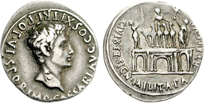 Denarius depicting the head of Augustus and the Parthian Triumphal Arch (18-17 BCE)
