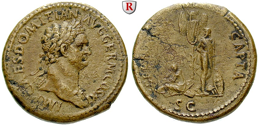Sestertius depicting the head of Domitian and a trophaeum with underneath a German captive woman (85 CE)
