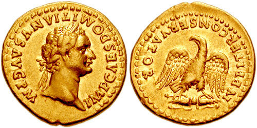 Aureus depicting the head of Domitian and the eagle of Jupiter (84 CE)
