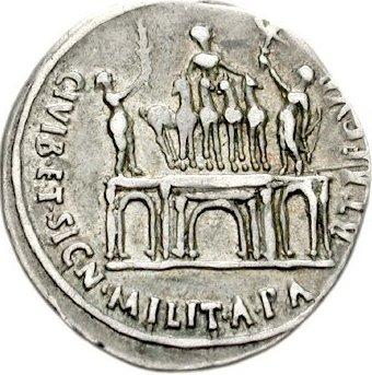 Reverse of a denarius depicting the Actian Arch (16 BCE)