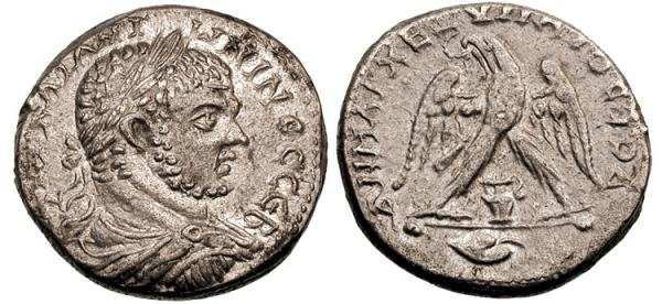Tetradrachm minted at Aelia Capitolina depicting the head of Caracalla and an eagle (211-217 CE)