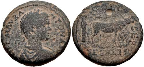 City-Coin of Sebaste depicting the head of Caracalla and the ceremonial foundation of the city (198-217 CE)