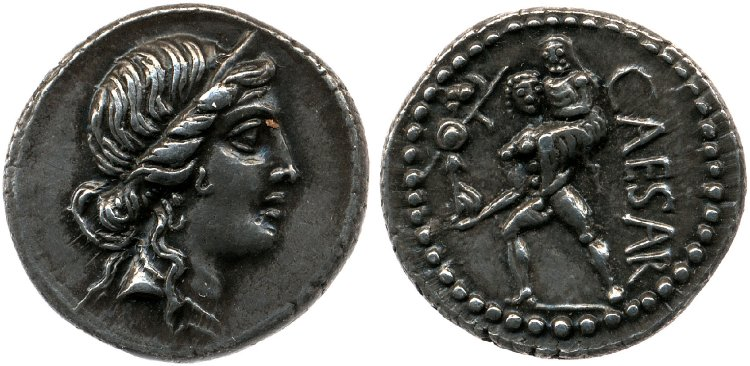Denarius depicting the head of Venus and Aeneas leaving Troy (47/46 BCE)