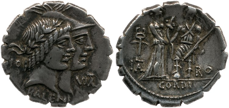 Denarius of the moneyers P. Mucius Scaevola and Q. Fufius Calenus celebrating the bond between Roma and Italia (70 BCE)