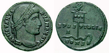 Follis depicting the head of Constantine and the Labarum spearing a snake (337 CE)