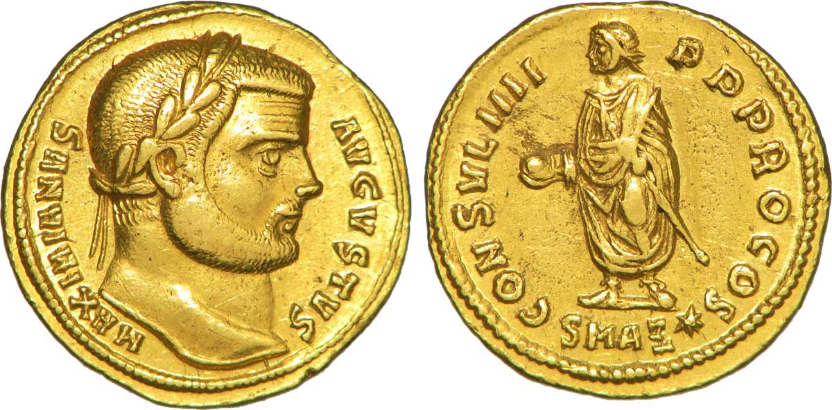 Aureus depicting the head of Maximian and the same as Rector Orbis (294-295 CE)