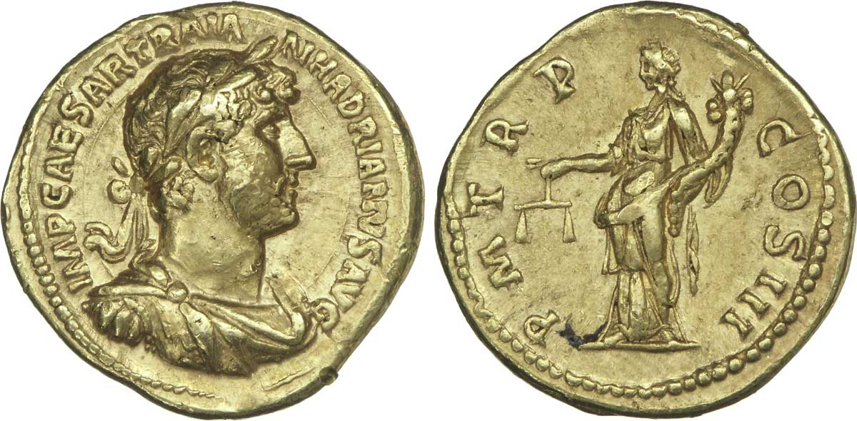 Aureus depicting the head of Hadrian and Aequitas, the personification of justice (123 CE)
