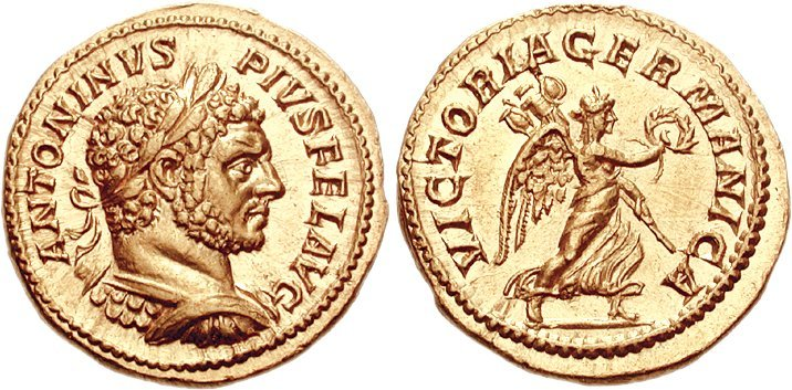 Aureus depicting the head of Caracalla and Victoria, the goddess of victory (213 CE)