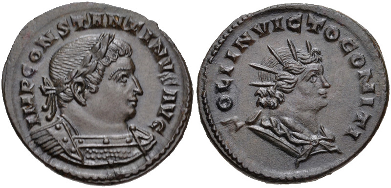 Follis depicting the head of Constantine and Sol Invictus (310-313 CE)