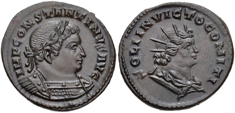Follis depicting the head of Constantine and Sol Invictus (310-313 CE)