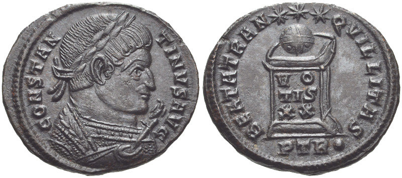 Follis depicting the head of Constantine and the globe set upon an altar (322 CE)