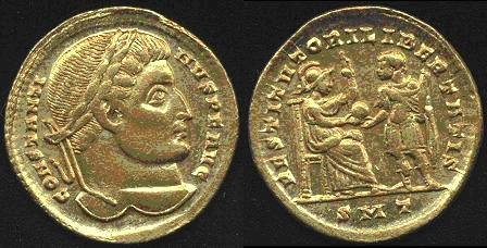 Solidus depicting the head of Constantine and the emperor receiving the globe from the goddess Roma (315 CE)
