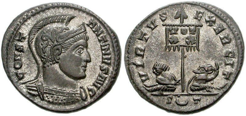 Follis depicting the head of Constantine and two captives flanking the  Labarum (319-320 CE)