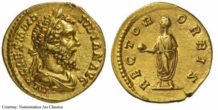Aureus depicting the head of Didius Julianus and the same symbolically depicted as the ruler of the orbis terrarum (193 CE)