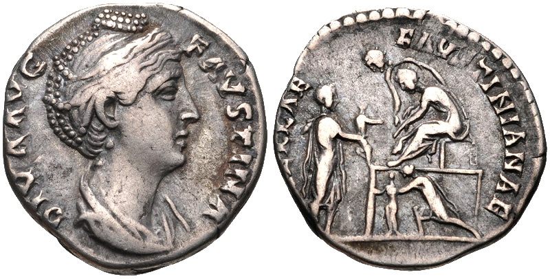 Denarius depicting the head of Faustina Maior and the ceremony for the awarding of charity funds to orphaned girls (141-146 CE)