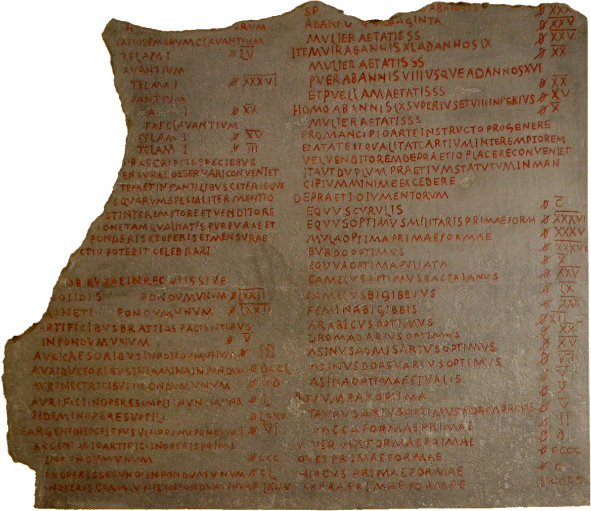 Fragment of the edict of Diocletian in the Pergamon Museum, Berlin