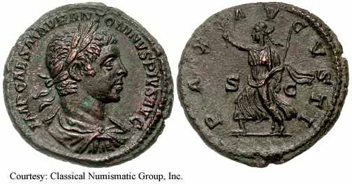 Sestertius depicting the head of Elagabalus and Pax, the goddess of peace (218 CE)