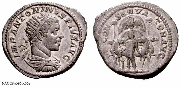 Antoninianus depicting the head of Elagabalus and the emperor leading hithe god of Emesa on a quadriga (219-220 CE)
