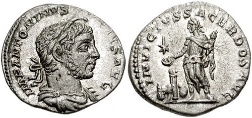 Denarius depicting the head of Elagabalus and the emperor sacrificing over an altar (220-222 CE)