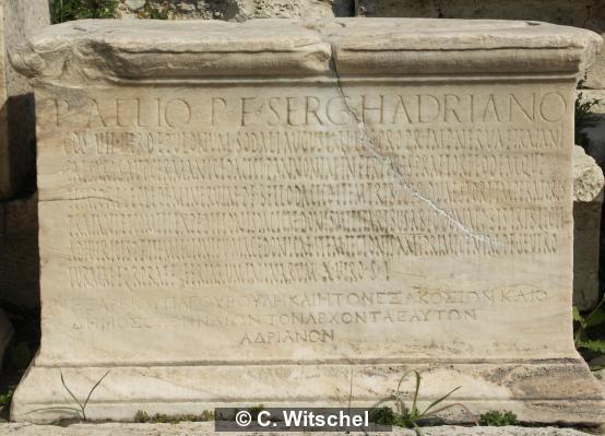 Dedicatory statue base for the emperor Hadrian (CIL III, 550)