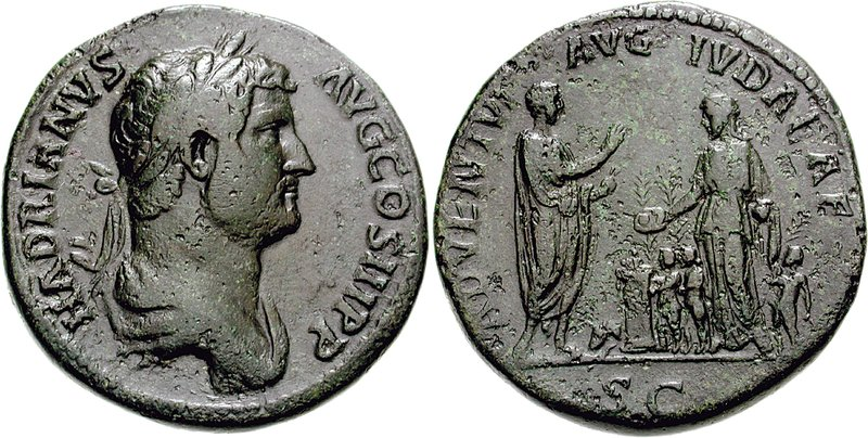 Sestertius depicting the head of Hadrian and the emperor making a sacrifice in front of the personification of Judea (134-138 CE)