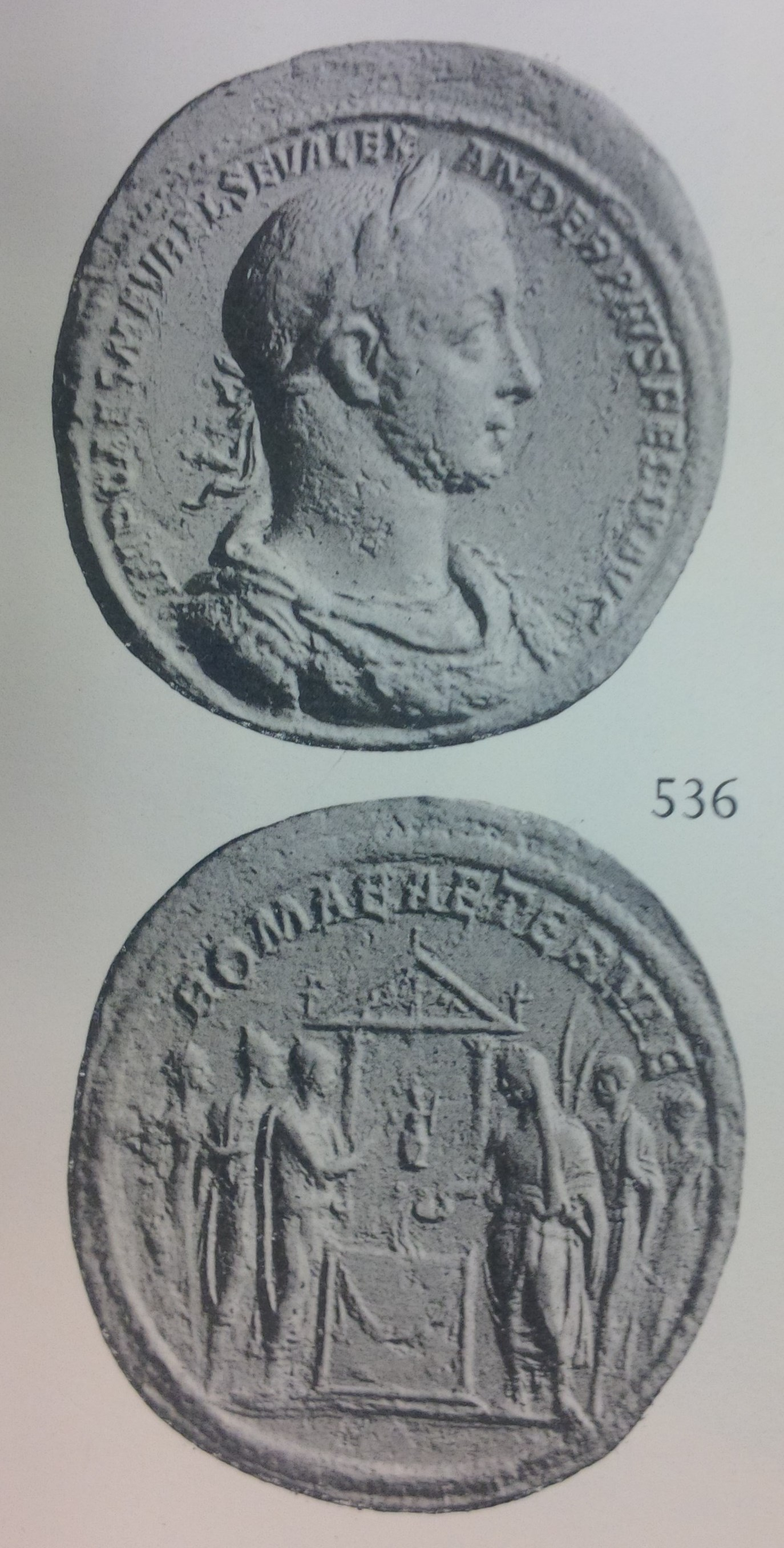 Medallion depicting the head of Severus Alexander and the emperor offering a sacrifice to the goddess Roma (228 CE)