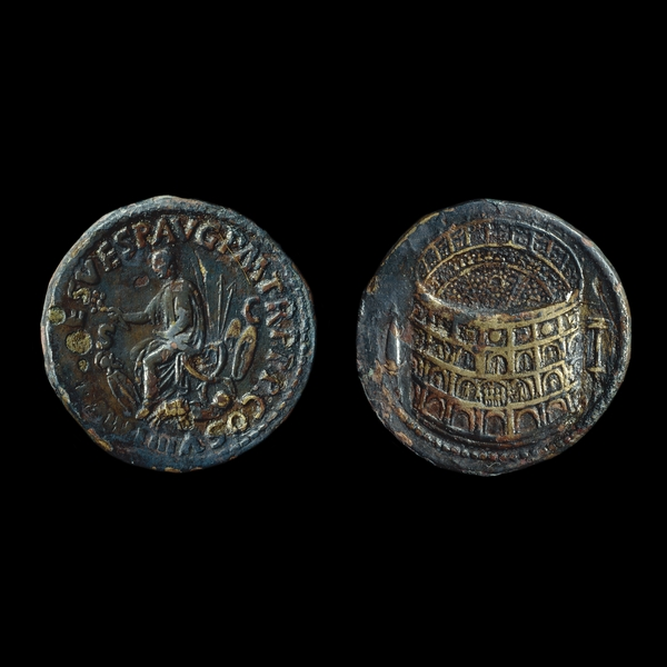 Sestertius depicting Titus on a sella curule and the Colosseum (80-81 CE)
