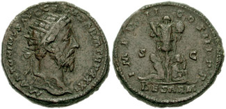 Dupondius depicting the head of Marcus Aurelius and a Sarmatian man and woman, bound under a trophy (177 CE)