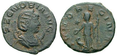 Antoninianus depicting the head of Zenobia and Juno Regina (272 CE)