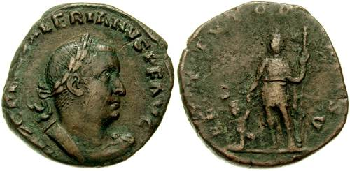Sestertius depicting the head of Valerian and the same raising the personification of the Orbis Terrarum (256-257 CE)