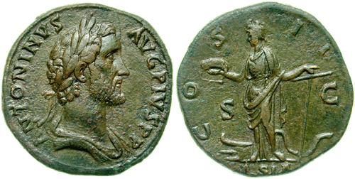 Sestertius depicting the head of Antoninus Pius and the personification of Asia (139 CE)