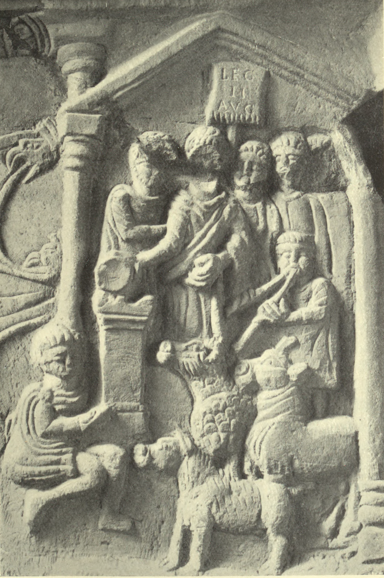 Suovetaurilia on the right hand panel of the Bridgeness Slab.