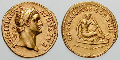 Aureus depicting the head of Domitian and the personification of Germania mourning (88-89 CE)