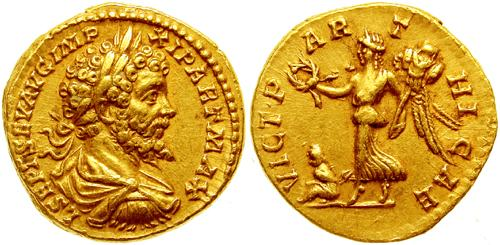 Aureus depicting the head of Septimius Severus and Victoria, the goddess of victory (198-200 CE)