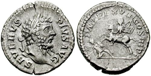 Denarius depicting the head of Septimius Severus and the emperor on horseback hurling a javelin at British enemy (209 CE)