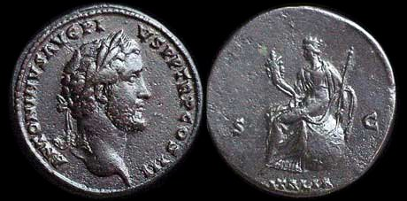 Sestertius depicting the head of Antoninus Pius and the personification of Italy (140-144 CE)
