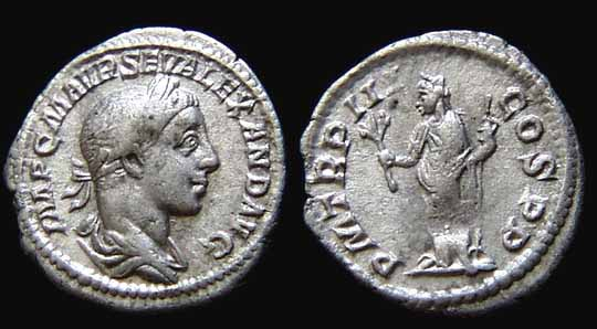 Denarius depicting the head of Severus Alexander and Pax, the goddess of peace (224 CE)
