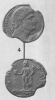 """Silver coin depicting ConstantineI and the Genius of the Roman people (326CE) - Image taken from Alföldi, András, """"On the Foundation of Constantinople. A Few Notes,"""" Journal of Roman Studies37, 1947, plateI."""