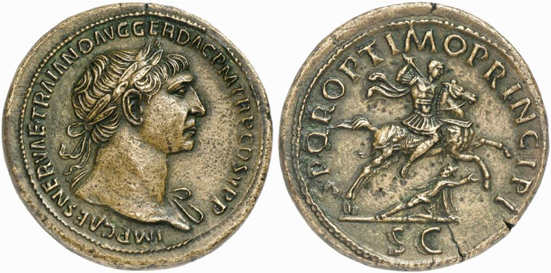 Sestertius depicting the head of Trajan and the same riding on a horse hurling spear at a Dacian (105 CE)