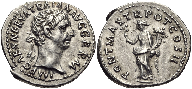 Denarius depicting the head of Trajan and Pax, the personification of peace (98 CE)