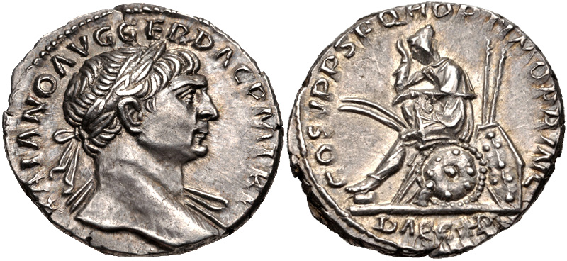 Denarius depicting the head of Trajan and the personification of Dacia mourning (107-111 CE)