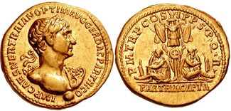 Aureus depicting the head of Trajan and the personification of Parthia mourning below trophy (116 CE)
